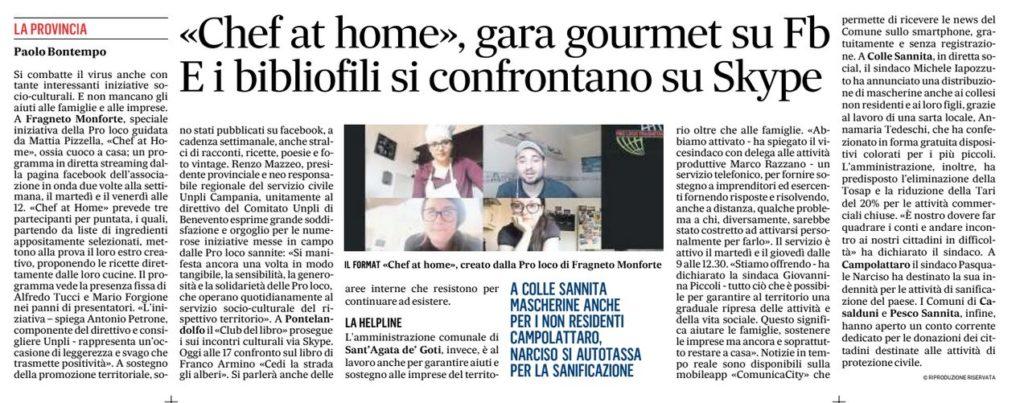 Articolo ripreso dal giornale Il Mattino per l'iniziativa-contest della Pro Loco Fragnetana durante il periodo della quarantena.
