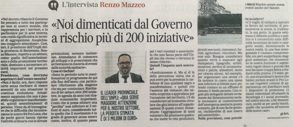 """Il Leader dell'UNPLI provinciale di Benevento: """"Dimenticati dal Governo!"""" A rischio più di 200 iniziative nel sannio delle Pro Loco."""